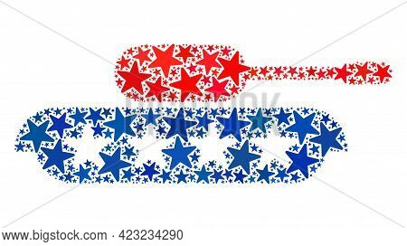 Armour Tank Mosaic Of Stars In Variable Sizes And Color Tints. Armour Tank Illustration Uses America