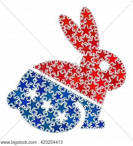 Rabbit Composition Of Stars In Different Sizes And Color Shades. Rabbit Illustration Uses American O
