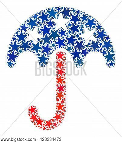 Umbrella Collage Of Stars In Various Sizes And Color Tints. Umbrella Illustration Uses American Offi