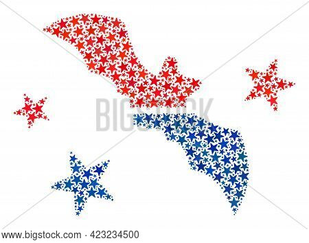 Flying Bat Mosaic Of Stars In Different Sizes And Color Tinges. Flying Bat Illustration Uses America