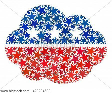 Cloud Mosaic Of Stars In Different Sizes And Color Hues. Cloud Illustration Uses American Official B
