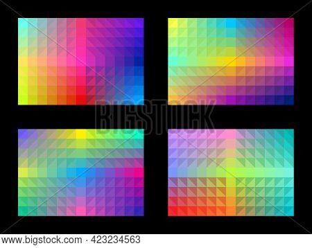 Colorful Background Pattern Set. Abstract Geometric Shapes. Gradient Square Triangle. Template Desig