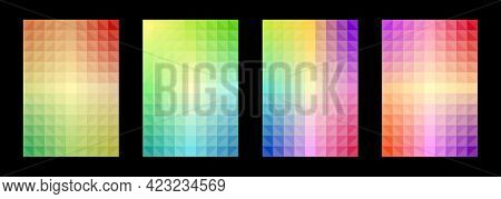 Colorful Pattern Set Abstract Background. Geometric Shapes, Triangles, Squares, Gradients. Designs T