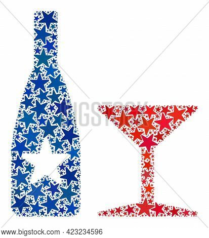 Alcohol Drinks Mosaic Of Stars In Various Sizes And Color Tinges. Alcohol Drinks Illustration Uses A