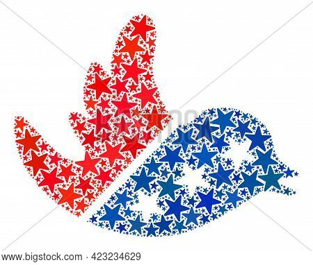 Flying Bird Composition Of Stars In Variable Sizes And Color Tones. Flying Bird Illustration Uses Am