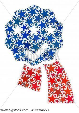 Award Seal Ribbons Mosaic Of Stars In Various Sizes And Color Shades. Award Seal Ribbons Illustratio