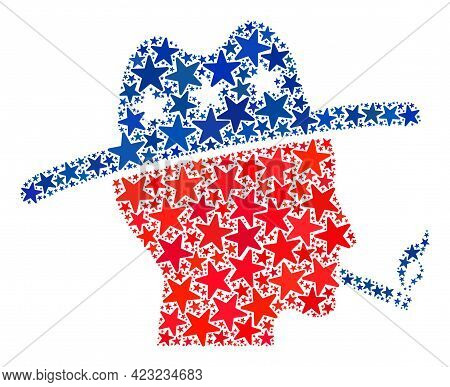 Smoking Farmer Mosaic Of Stars In Various Sizes And Color Shades. Smoking Farmer Illustration Uses A