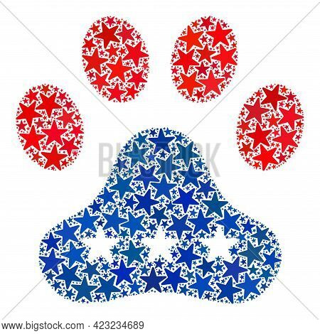 Paw Footprint Mosaic Of Stars In Various Sizes And Color Tints. Paw Footprint Illustration Uses Amer
