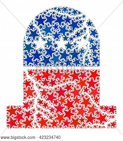 Old Grave Mosaic Of Stars In Various Sizes And Color Hues. Old Grave Illustration Uses American Offi