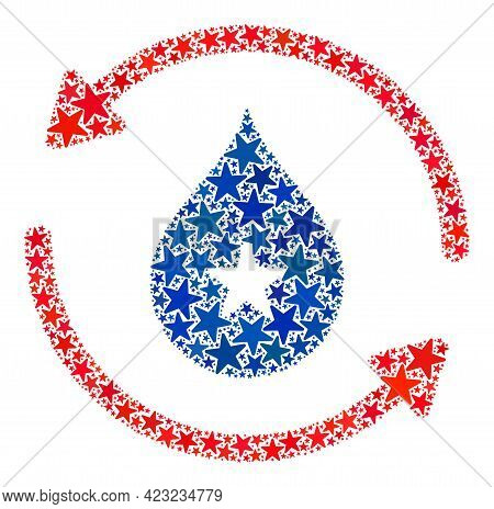Water Recirculation Mosaic Of Stars In Different Sizes And Color Hues. Water Recirculation Illustrat