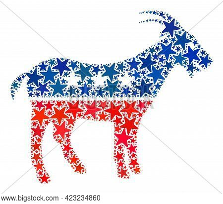 Goat Collage Of Stars In Different Sizes And Color Tinges. Goat Illustration Uses American Official
