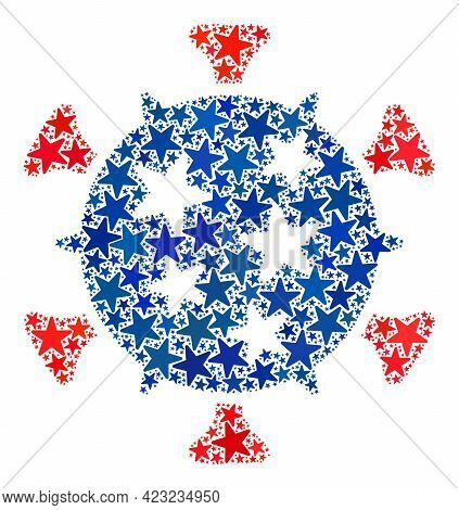 Virus Collage Of Stars In Various Sizes And Color Tints. Virus Illustration Uses American Official B