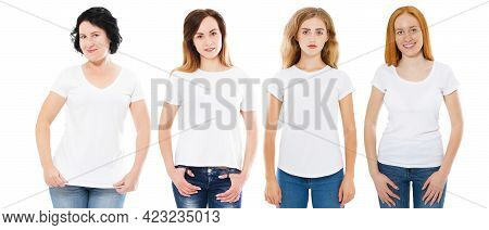 Womens In Empty White T-shirts Mock Up Isolated On White Background. Many Girls Womens In T Shirt Co