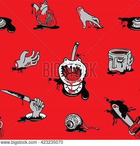 Seamless Pattern On A Halloween Theme With Severed Hands And Head, Torn Out Human Heart And Eyes In