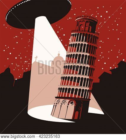 Vector Cityscape With A Large Flying Saucer Hovering In The Maroon Sky Above The City, Which Directs