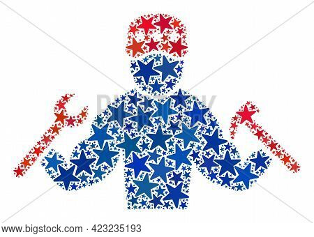 Mechanic Guy Composition Of Stars In Different Sizes And Color Shades. Mechanic Guy Illustration Use