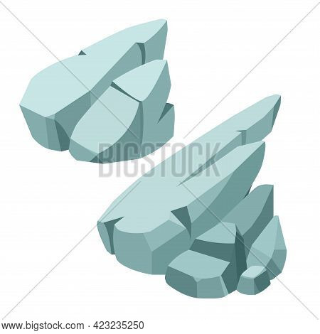 A Group Of Stone Rocks, Landscape Decoration For Aquarium Or Park, Natural Weathering, Color Vector