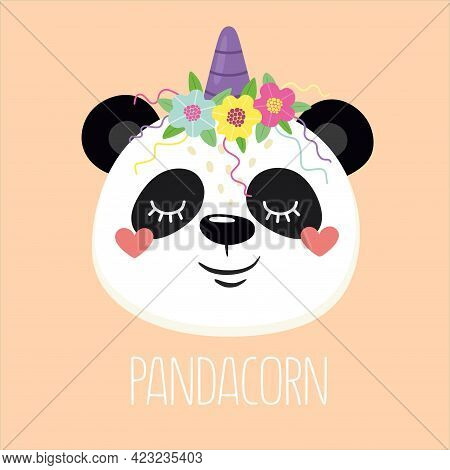 Panda. Happy And Cheerful Panda Unicorn With The Word Pandacorn. Vector Illustration.