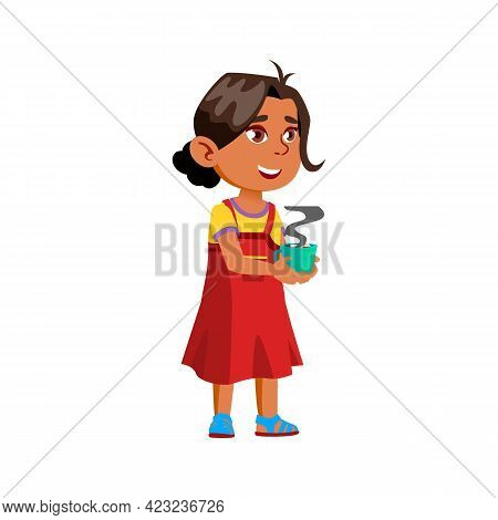 Funny Indian Girl Drinking Hot Chocolate With Marshmallow In Coffee Cafe Cartoon Vector. Funny India
