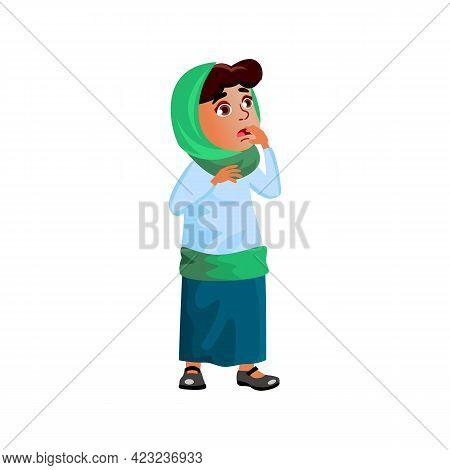 Surprised Muslim Girl Watching Cartoon Release On Tv Cartoon Vector. Surprised Muslim Girl Watching