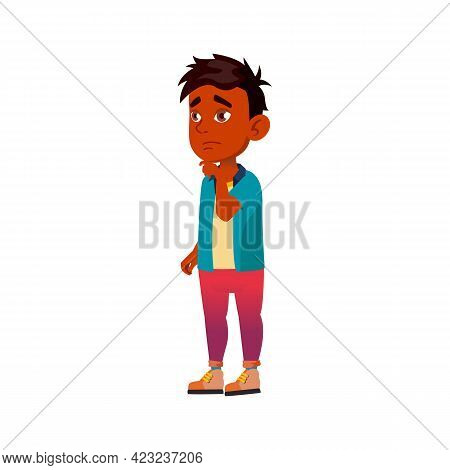 Thoughtful India Boy Thinking And Choosing Snack At Street Food Car Cartoon Vector. Thoughtful India