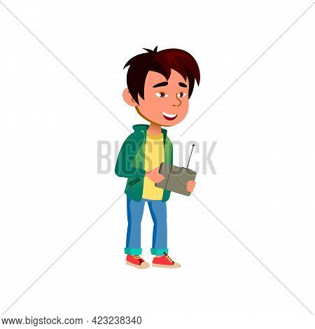 Little Boy Playing With Radio Controlled Car Toy On Backyard Cartoon Vector. Little Boy Playing With