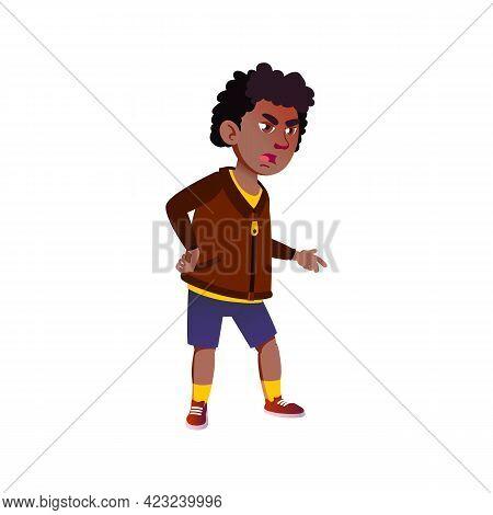 Rage African Boy Kid Cry At Brother Cartoon Vector. Rage African Boy Kid Cry At Brother Character. I