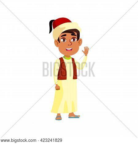 Arabian Boy In National Garment Glad To See International Guests In Airport Cartoon Vector. Arabian