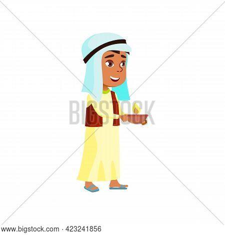 Muslim Boy Kid Carrying Candle For Celebrate Diwali Holiday Cartoon Vector. Muslim Boy Kid Carrying