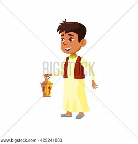 Islamic Boy With Lantern Diwali Celebration Fire In Mosque Cartoon Vector. Islamic Boy With Lantern