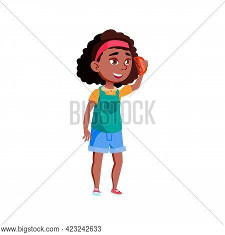 Preteen Girl Combing With Comb In Bathroom Cartoon Vector. Preteen Girl Combing With Comb In Bathroo