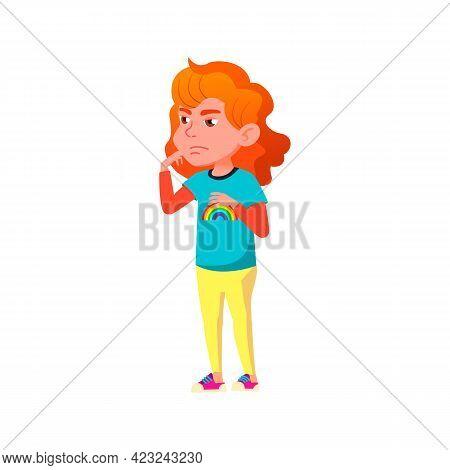 Redhead Little Girl Looks At Parents Cartoon Vector. Redhead Little Girl Looks At Parents Character.