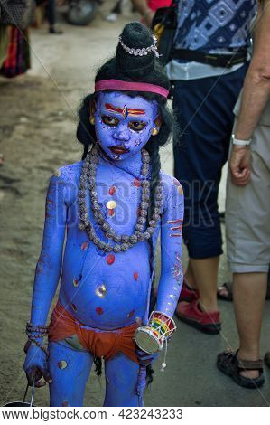 Pushkar, India - November 10, 2016: An Unidentified Boy Dressed And Disguised As Hindu Lord Shiva Wi