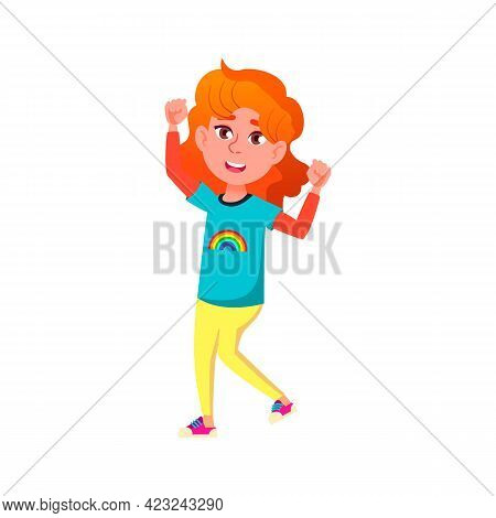 Stylish Redhead Girl Dancing With Friends On Children Discotheque Cartoon Vector. Stylish Redhead Gi