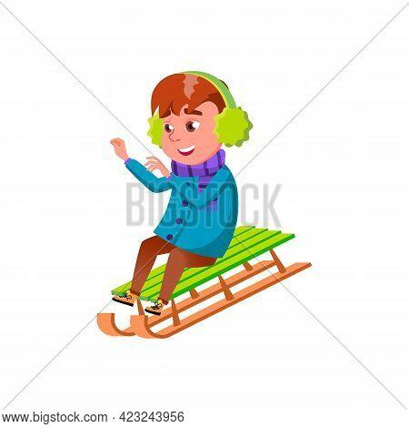 Happy Boy Riding Sleigh From Hill Cartoon Vector. Happy Boy Riding Sleigh From Hill Character. Isola