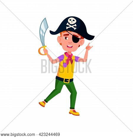Happy Boy Preteen Wearing Pirate Hat And Holding Sword Play With Friends On Backyard Cartoon Vector.