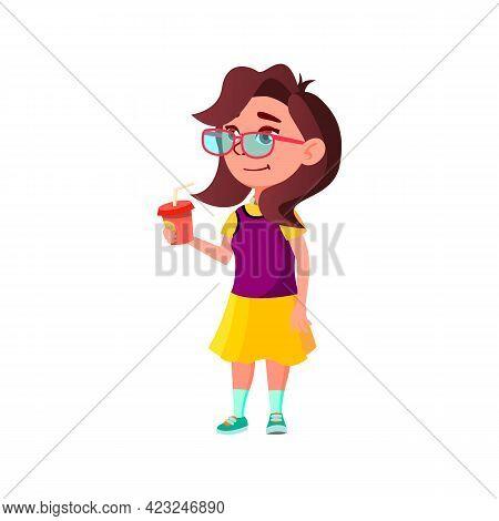 Cute Caucasian Girl Drinking Milk Cocktail In Dining Room Cartoon Vector. Cute Caucasian Girl Drinki
