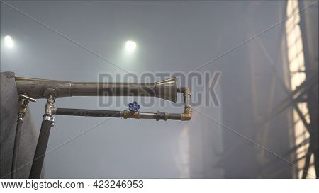 Ventilation System On The Ceiling Of Large Buildings. A Pipe With A Vent At The Factory.