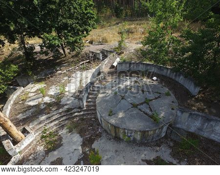 The destruction of the remnants of communism (drone image).Totally marauded and vandalised by ukrainian patriots after Revolution Dignity in 2014 kids summer camp. Kiev region. Ukraine