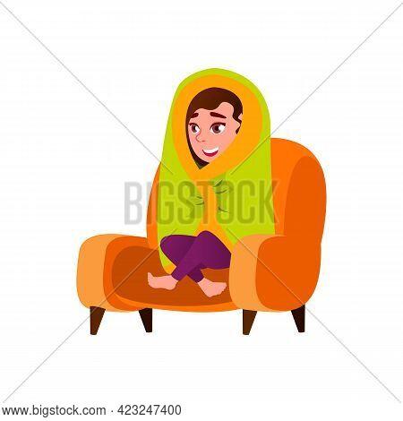 Caucasian Girl Wrapped In Blanket Sitting In Armchair Cartoon Vector. Caucasian Girl Wrapped In Blan