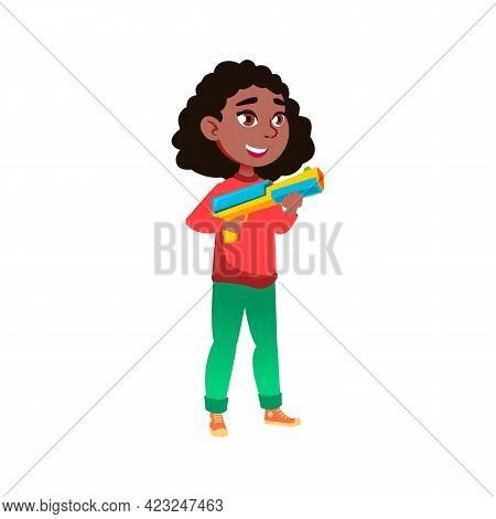 Happy African Girl Infant Holding Gun Weapon Toy And Play With Friends In Garden Cartoon Vector. Hap