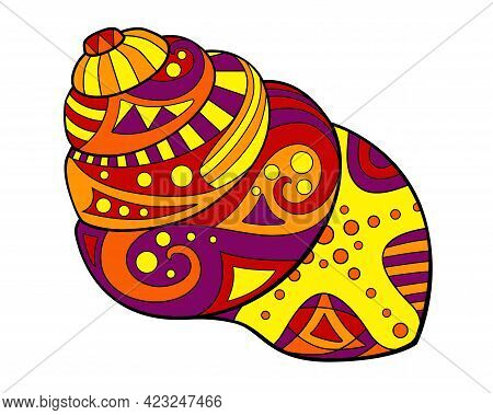 Seashell - Vector Linear Full Color Illustration - With Sea Mollusk. Snail. Template For Stained Gla