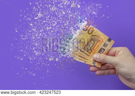 Inflation Euro . Inflation In Europe, Hyper Inflation. Banner With Purple Background. Fifty Euro Ban