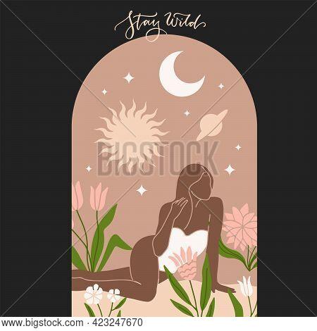 Modern Minimalist Mystical Astrology Aesthetic Sitting Woman Under Starry Sky. Beautiful Bohemian Pr