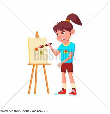 Pretty Caucasian Girl Draw Image On Canvas With Brush And Paint Cartoon Vector. Pretty Caucasian Gir
