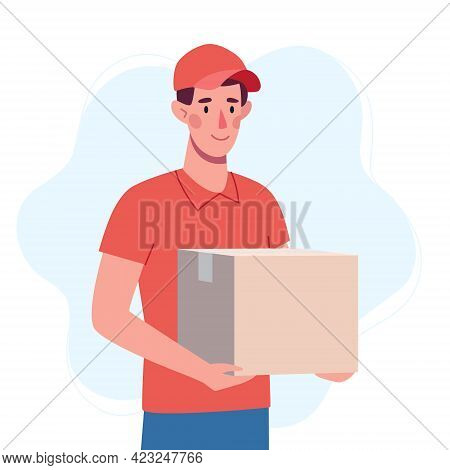 The Courier Brought The Box. Safe Delivery Of The Order From The Delivery Service..man In Red Unifor