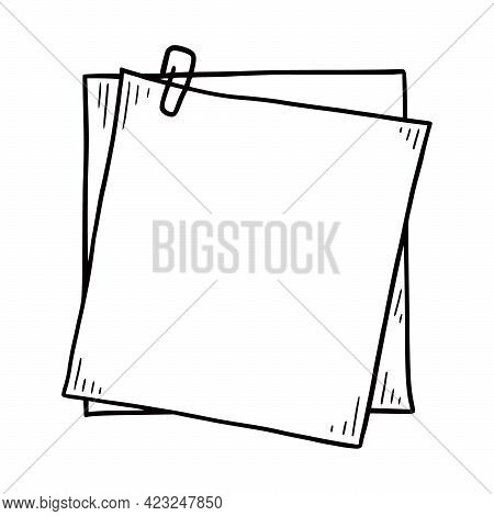 Hand Drawn Paper Memo Sticky. Doodle Sketch Style. Reminder Paper Sticker For Pin Notice, Text. Vect