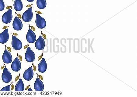 Plum Icons Isolated An Empty Table. Frame With Natural Delicious Fresh Ripe Tasty Fruit. Template Ve