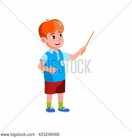Caucasian Schoolboy Answering Teacher Question And Pointing Country On Map Cartoon Vector. Caucasian