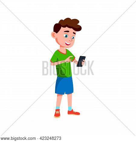 Preteen Caucasian Boy Chatting With Girlfriend On Cellphone Cartoon Vector. Preteen Caucasian Boy Ch